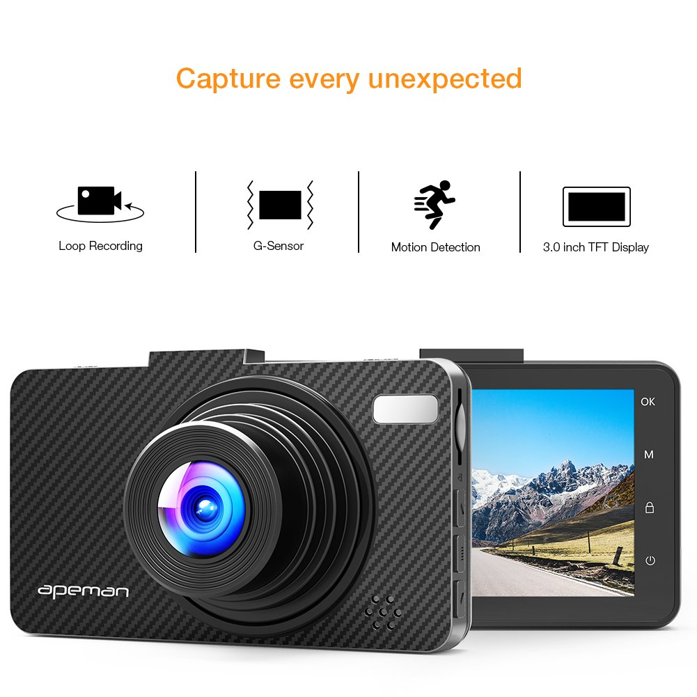Updated-Version-Dash-Cam-APEMAN-Dashboard-FHD-1080P-Car-Camera-DVR-Recorder-with-30-LED-Screen-Night-Vision-G-Sensor-WDR-Loop-Recording-Motion-DetectionC450