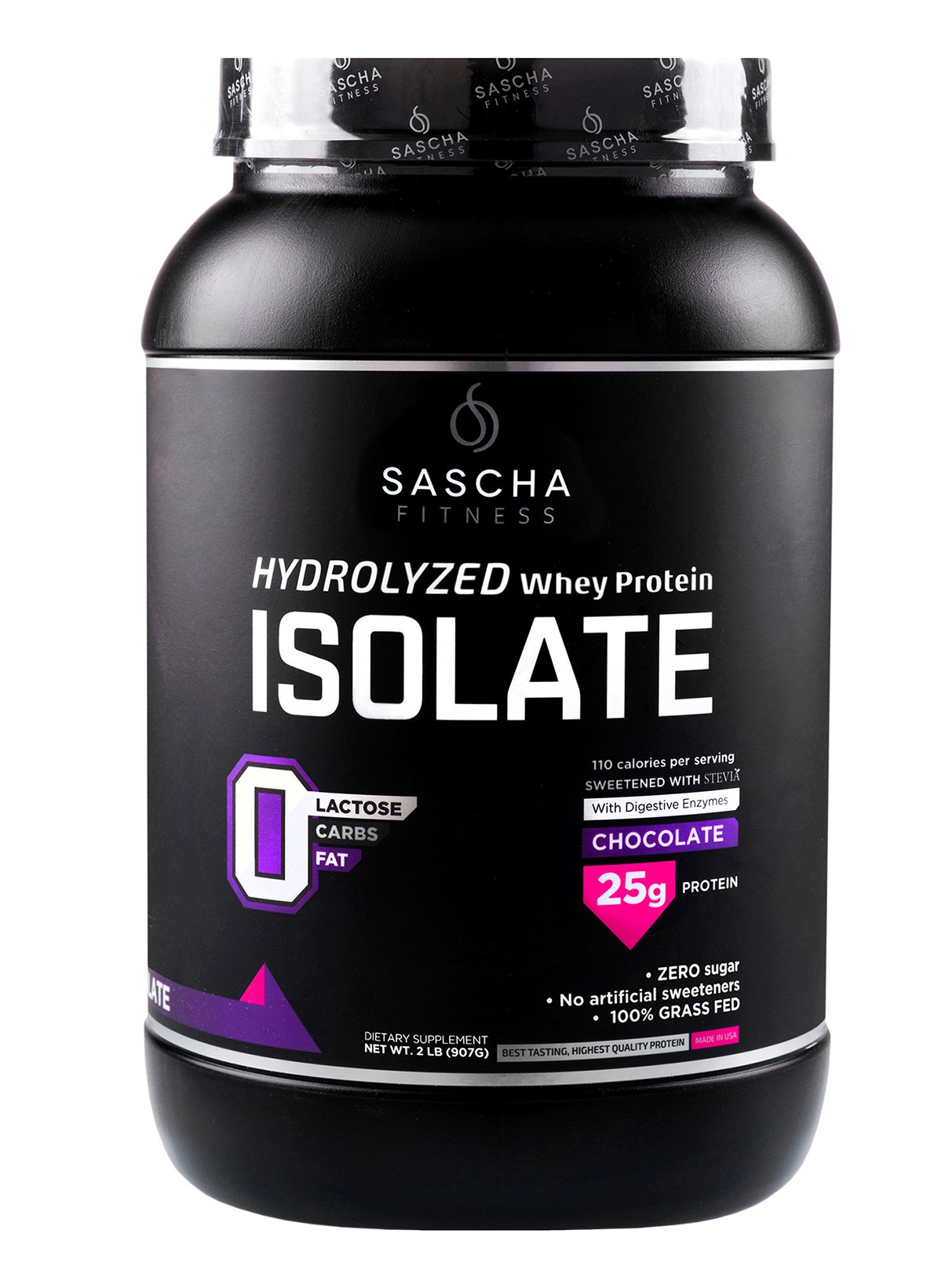 Sascha Fitness Hydrolyzed Whey Protein Isolate,100% Grass-Fed (2 Pound,Chocolate) by SASCHA FITNESS