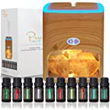 Himalayan Pink Salt Diffuser & 10 Essential Oils – 2-in-1 Therapeutic Device - Aromatherapy & Ionic Himalayan Salt Therapy –
