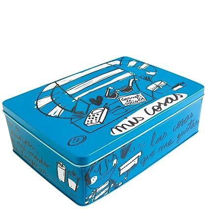 Laroom Caja metálica, Metal, Azul