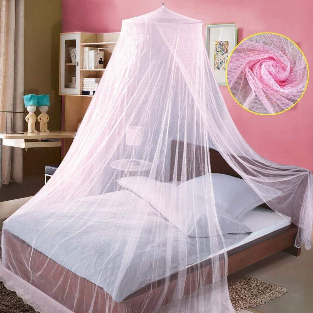 Doppelbetten Betthimmel f/ür Kinderbetten 40 LED-Lichter Doppelbett Betthimmel M/ädchen Bett Moskitonetz Rosa Moskito-Spitze