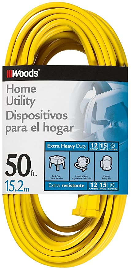 Woods 838 SPT-3 12/3 Flat Utility Extension Cord, Yellow, 50-Foot ...