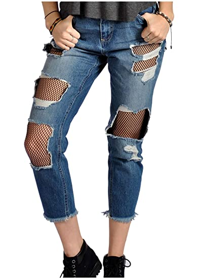 45655ab3cee Distressed Ripped Fishnet Mesh Inset Cutout Ankle Jeans