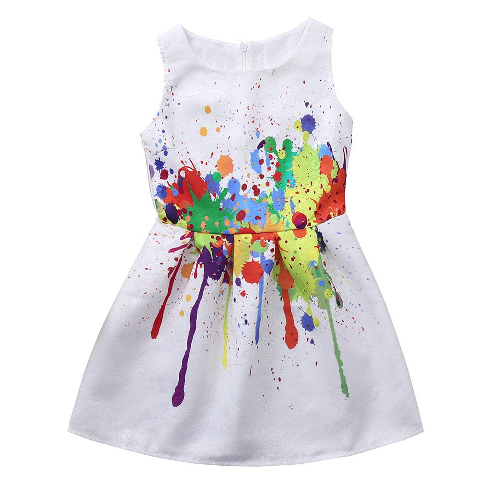 Lurryly Flower Children Girls Princess Floral Printed Sleeveless Clothes Dresss 6-9 T