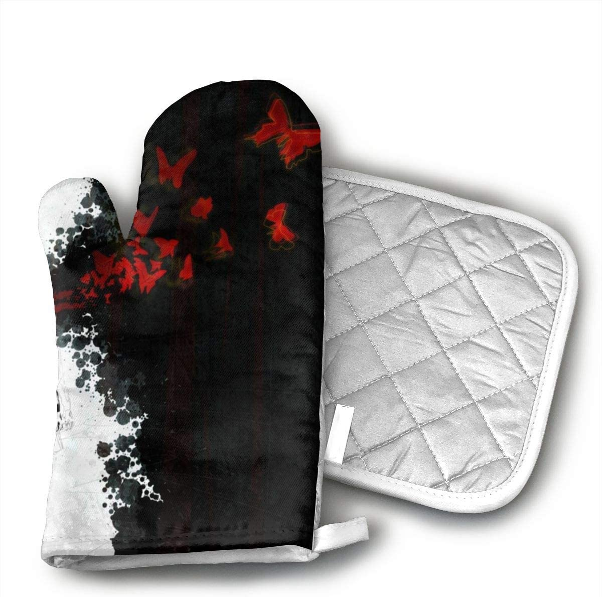 Jiqnajn6 Dark Anime Printed Oven Mitts,Heat Resistant Oven Gloves, Safe Cooking Baking, Grilling, Barbecue, Machine Washable,Pot Holders.