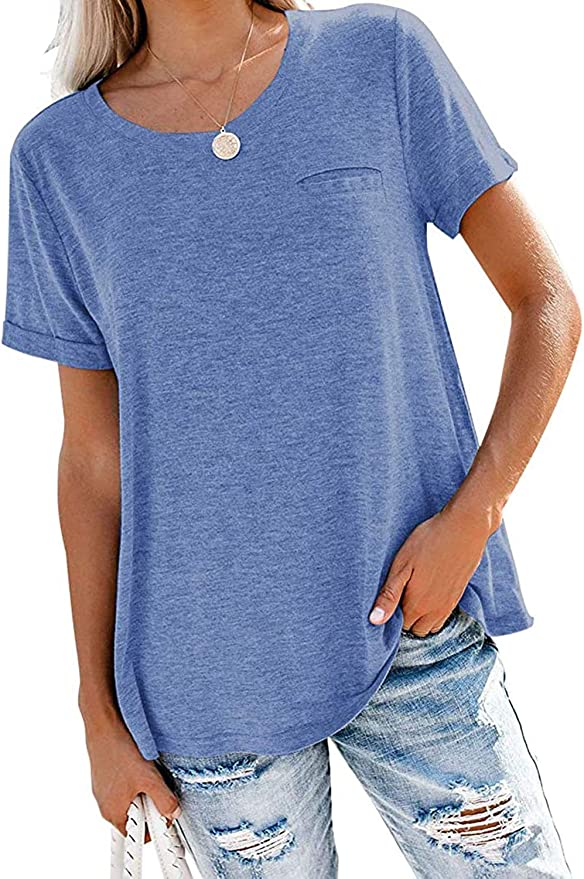 Women's Summer Casual Short Sleeve Shirts Crewneck Roll Up Sleeve Tunic Tops with Pocket