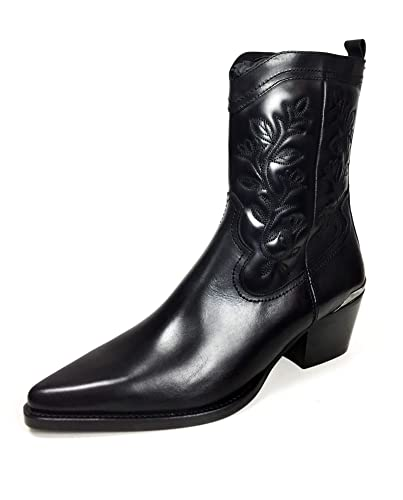 222044a0a06 Massimo Dutti Women's Black Leather Cowboy Ankle Boots 6258/321 ...