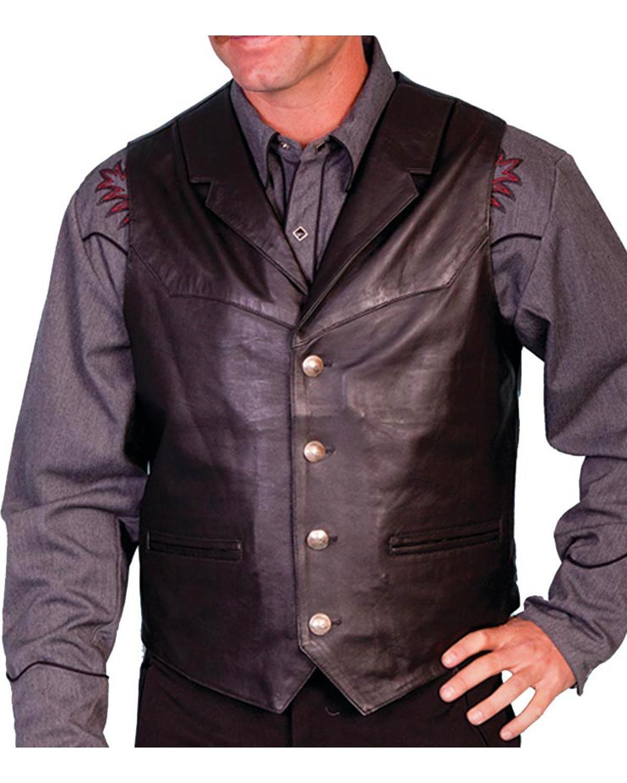 Scully Men's Lambskin Lapel Vest Big Black XXXX-Large