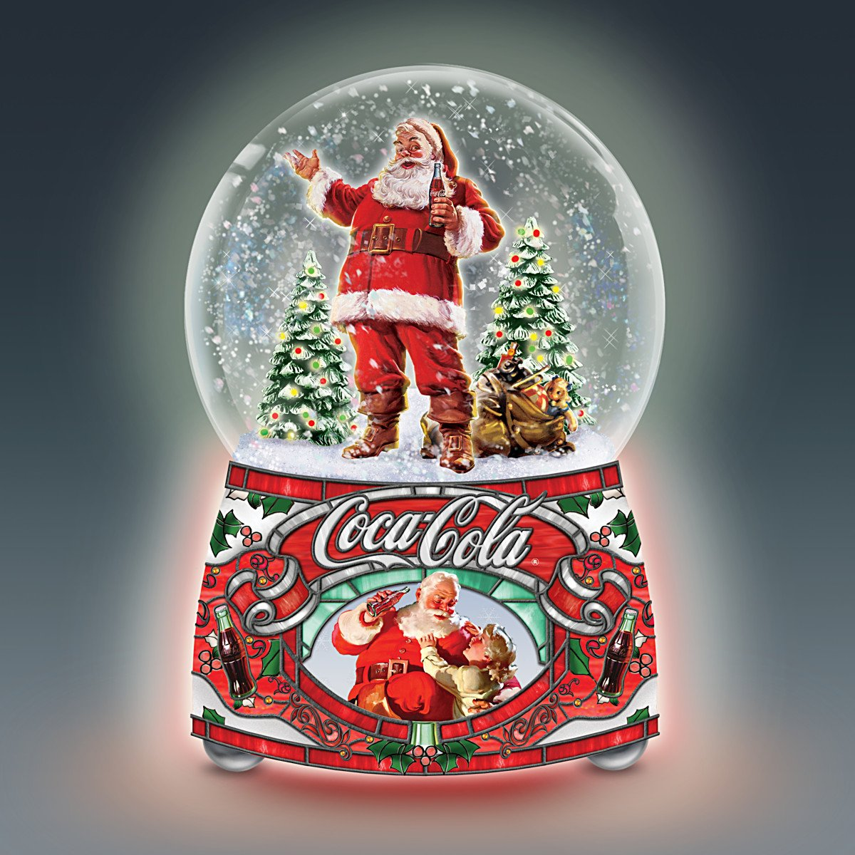 COCA COLA Santa Musical Glitter Globe Lights Up and Plays Jingle Bells by The Bradford Exchange by Bradford Exchange (Image #4)
