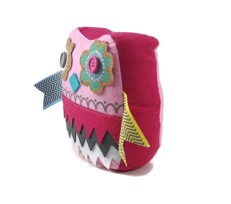 Pink Demasa Owl Flower Patterned Fabric Weighted Door Stop Doorstopper
