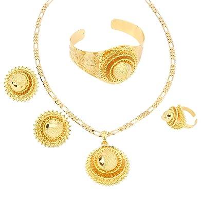Amazoncom Fashion Dubai Gold Jewelry 24k Gold Plated Jewelry For