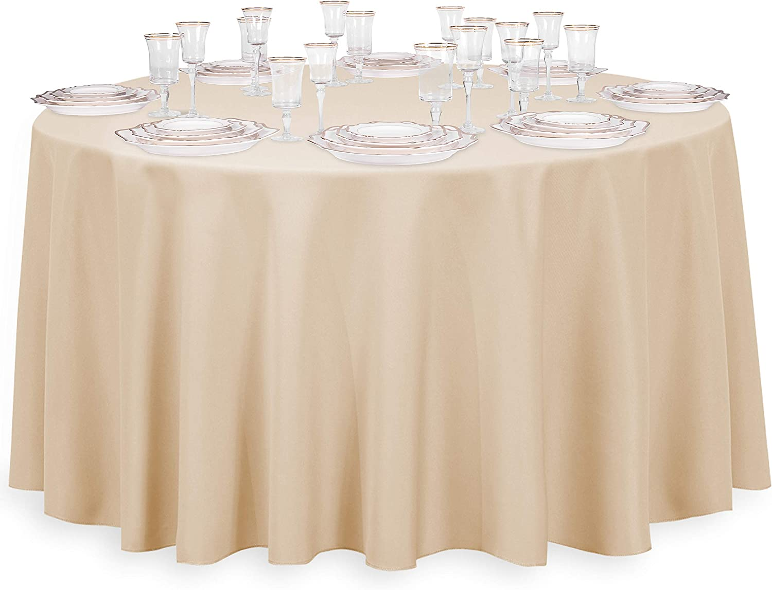 120 inch ROUND WHITE FABRIC TABLECLOTH FOR YOUR HOLIDAY TABLE