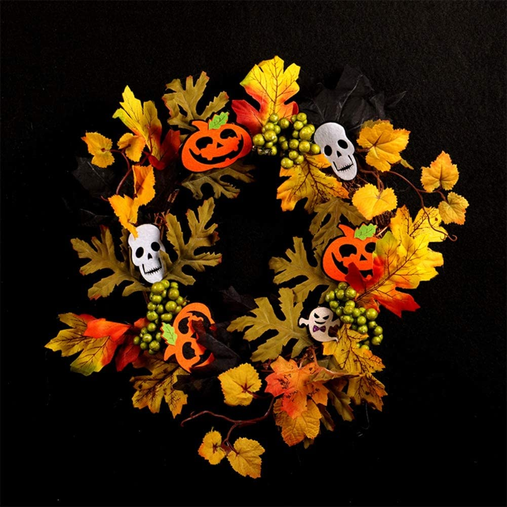 Mrinb Halloween Wreath Garland Holiday Front Door Hanging Decorations with LED Light String