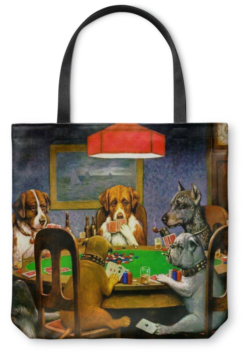 Dogs Playing Poker 1903 C.M.Coolidge Canvas Tote Bag - Large - 18''x18''