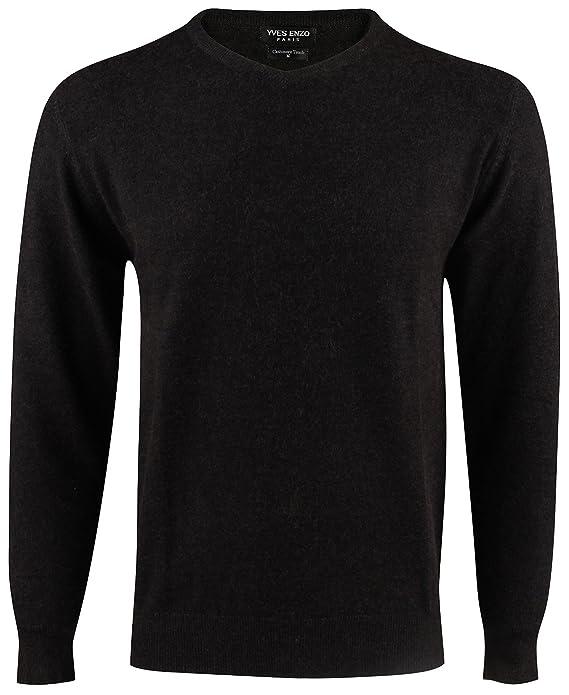 Yves Enzo - pull col V - homme - noir  Amazon.fr  Vêtements et accessoires 2c181423b1ca