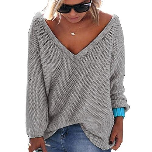 BIUBIONG Suéter para Mujer Cuello en V Suelta de Color Sólido Camiseta en Punto, 10 Colores, ES 36-4...