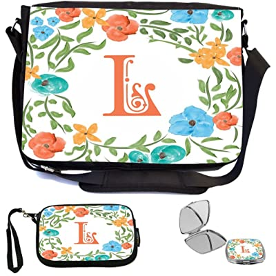 Rikki Knight Letter L Monogram Floral Art Peachy Blue Design Design COMBO Multifunction Messenger Laptop Bag - with padded insert for School or Work - includes Wristlet & Mirror
