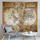 "World Map Tapestry,Flymall Tapestry Wall Hanging for Wall Art Home Decor Bedspread Beach Towels Blanket Picnic Mat(59"" x…"