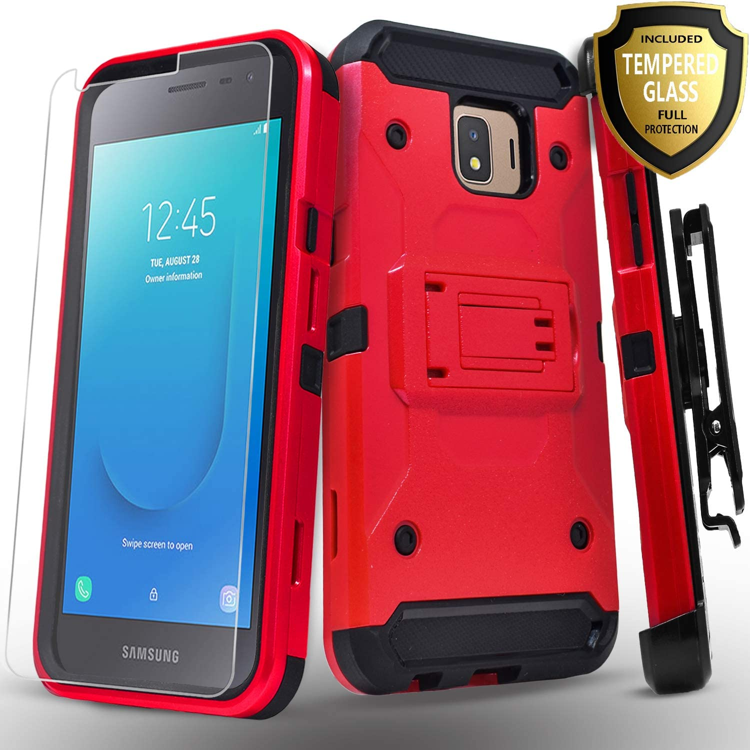Amazon Com Starshop Full Cover Dual Layers Phone Case Compatible For Samsung Galaxy J2 Galaxy J2 Core J2 Pure J2 Dash With Tempered Glass Screen Protector Included And Kickstand And Locking Belt Clip Red