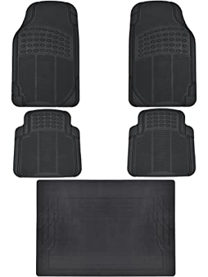 Heavy Duty 5pc Front & Rear Rubber Mats w/Trunk Liner - All Weather Protection - Universal Car Truck SUV - Black