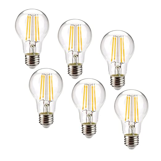 Leadleds 6,5 W bombilla Edison Vintage LED regulable, larga LED filamento E26 tamaño