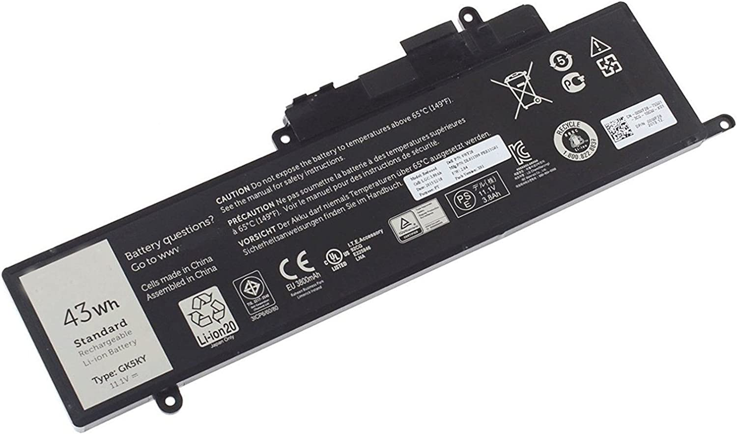 Dentsing Compatible/Replacement Laptop Battery for DELL GK5KY (11.1V 43Wh) Inspiron 13 7347 13-7352 3147 3000 11-3152 Series 04K8YH 92NCT 092NCT 4K8YH P20T