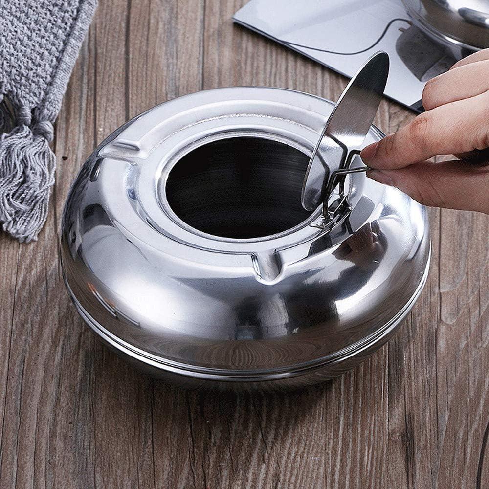Cenicero redondo de acero inoxidable con tapa para uso en exteriores o interiores port/átil moderno cenicero de mesa reutilizable resistente al viento