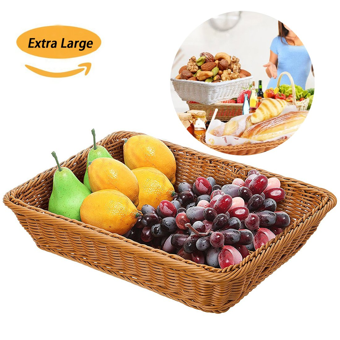 Extra Large Poly-Wicker Bread Basket Rectangle Imitation Rattan for Food Serving Restaurant Kitchen Coffee Table Diplay Decor Baskets Fruit Snacks Container,(16'' x 12'' x 4'') Brown