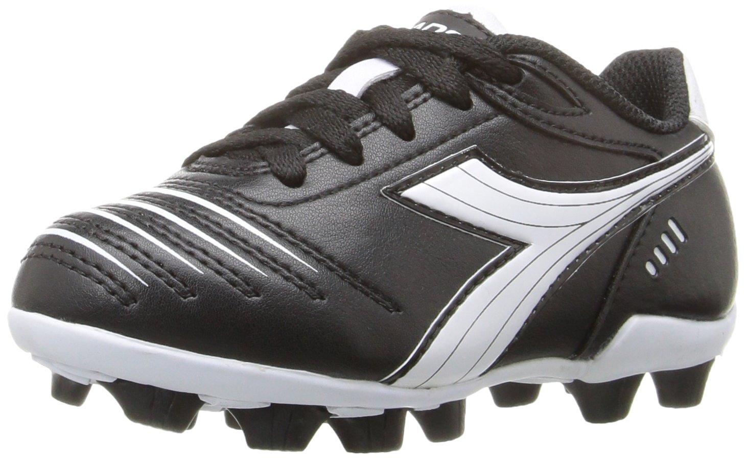 Diadora Kids' Cattura MD Jr Soccer Shoe, Black/White, 11 M US Little Kid