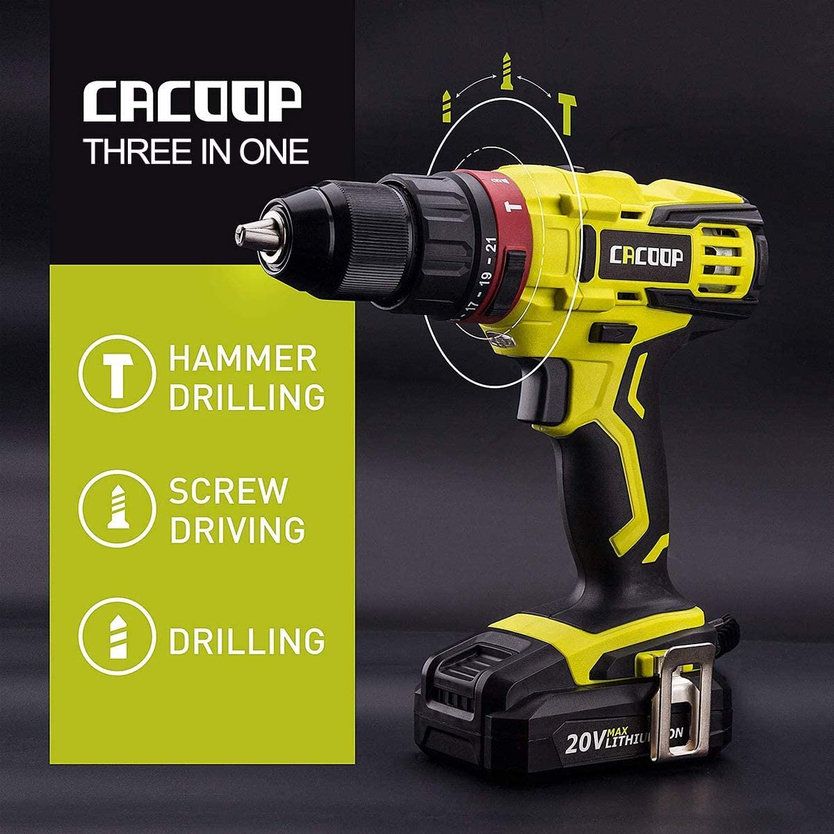 B07C1MGKSX CACOOP 20v cordless hammer drill set with battery and charger,442lbs/50nm torque,21+1 position,2Ah battery,1/2 keyless chuck,1H Fast charger,Variable Speed for concrete wood brick metal 71Z80P2CAQL.SL1200_