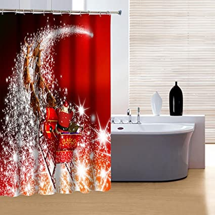 Alicemall Christmas Shower Curtain Sparking Stars Santa And Deer Festive Red 3D