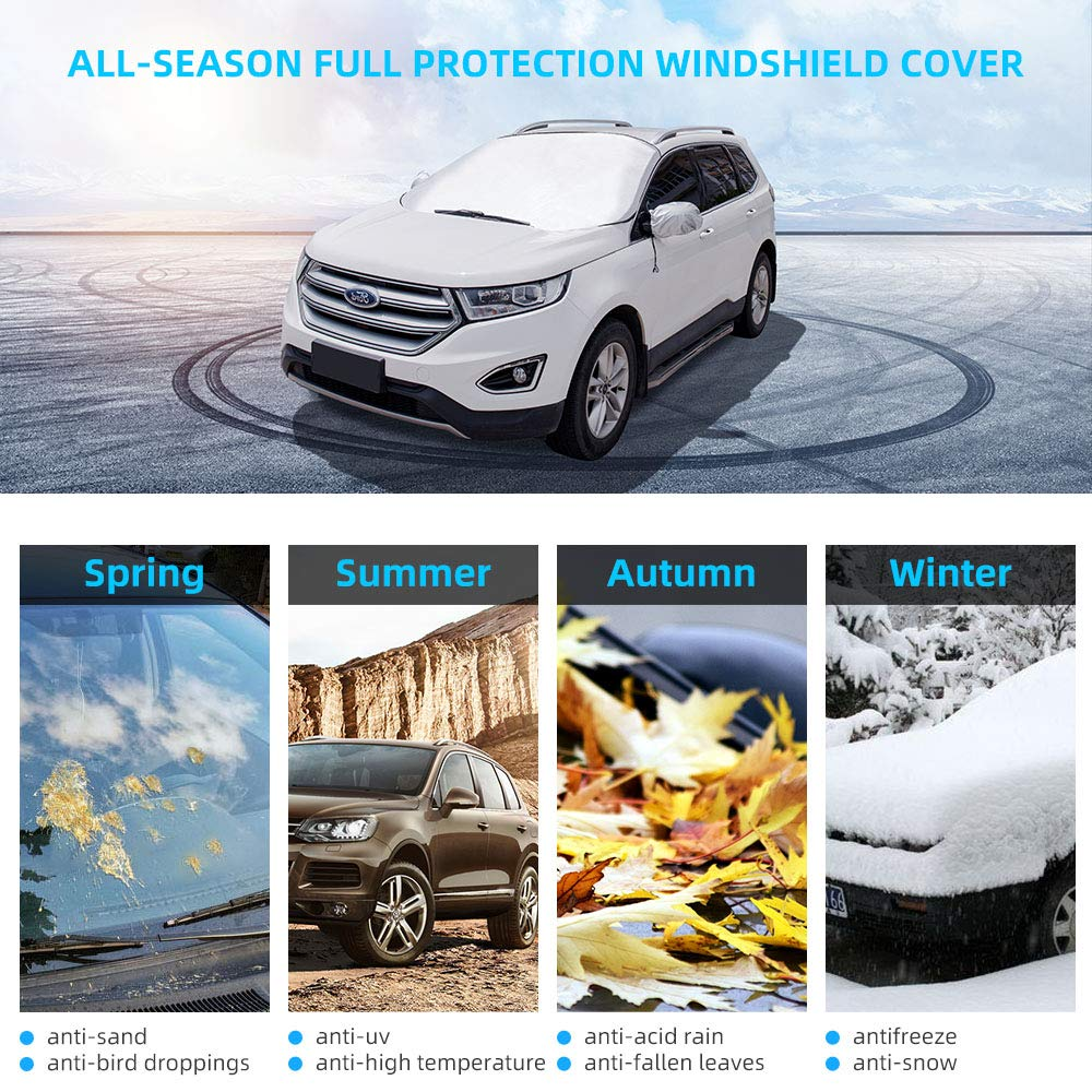 Weatherproof RVs SUVs COPOZZ Car Windshield Snow Ice Cover Foldable Windshield Sunshade with Mirror Covers 70.8x59 Fit for Most Vehicles