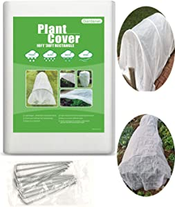 Gardaner Plant Covers Freeze Protection 0.9oz 10Ft x 30Ft Rectangle for Animal,Season Extension with 6 pcs Staples Stakes
