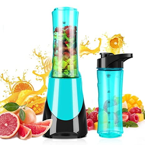 Personal Blender for Smoothies Shakes, Powerful 300W(24,000RMP) 4 Sharp Blades, Small Blender Single Serve with 20 oz Portable Sport Bottle, Blue by ...