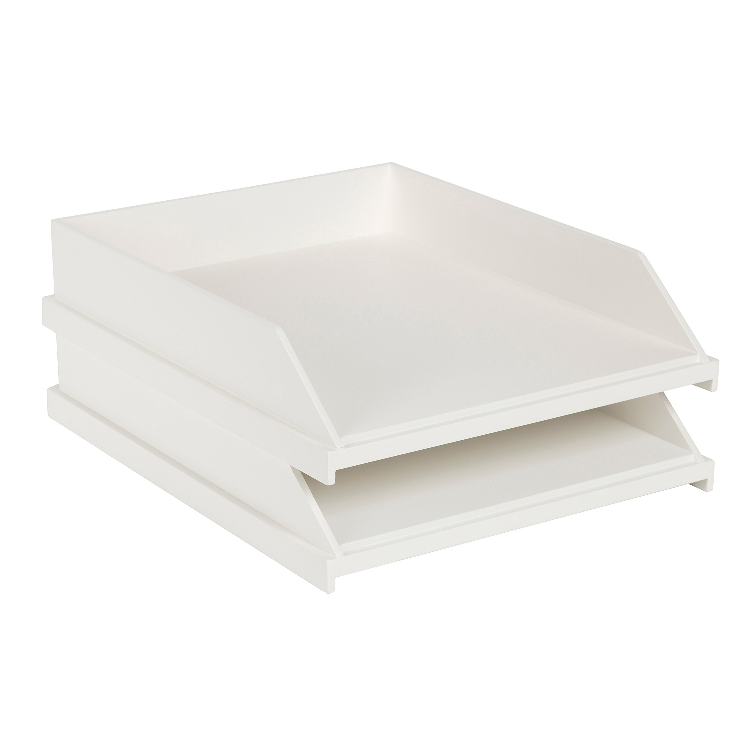 Kate and Laurel Francesca Wood Stackable Letter Trays, White