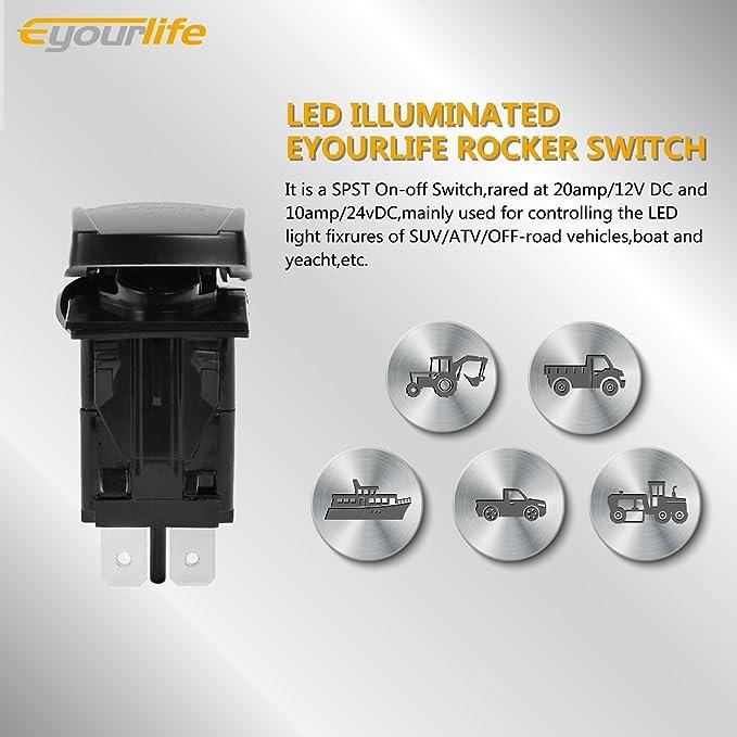 Eyourlife Interrupteur /à Bascule Tableau De Bord Contacteurs LED 12V-24V Lumi/ère Blanche pour Voiture Electronique LED Work Light