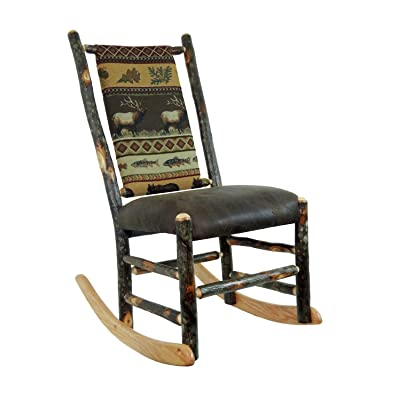 Hickory Rocking Chair No Arms Distressed Faux Leather Seat / Elk Run Fabric  Back