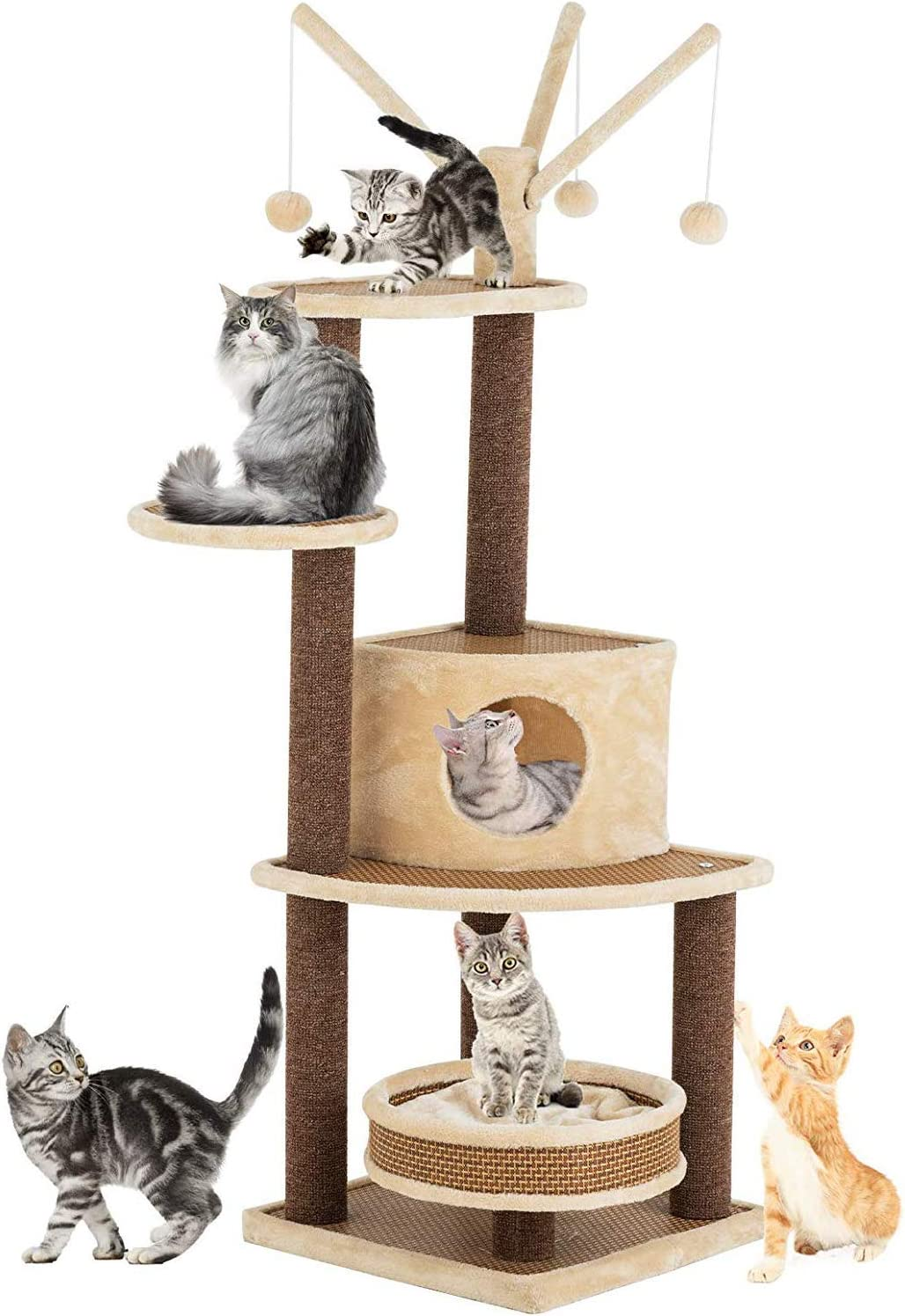 Suncoo Rattan Mat Style Cat Tree 59 Inch Modern Cat Furniture Kitten Activity Climbing Tower Pets House With Removable And Washable Mats Multi Level Scratching Post Condo Toys Gazebo Pet