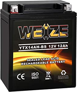 Weize YTX14AH-BS High Performance - Maintenance Free-Sealed AGM ATV Battery Rechargeable Yuasa YTX14AH Motorcycle Batteries For Honda Kawasaki Yamaha Polaris