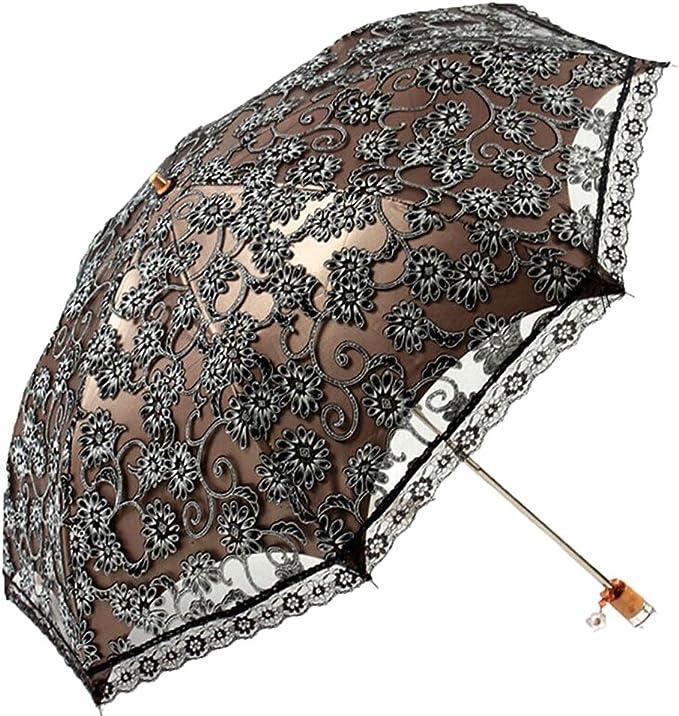 Vintage Umbrella Long Handle Umbrella 16 Bone Anti-Wind and Sun Shade Ladies Umbrella Color : S