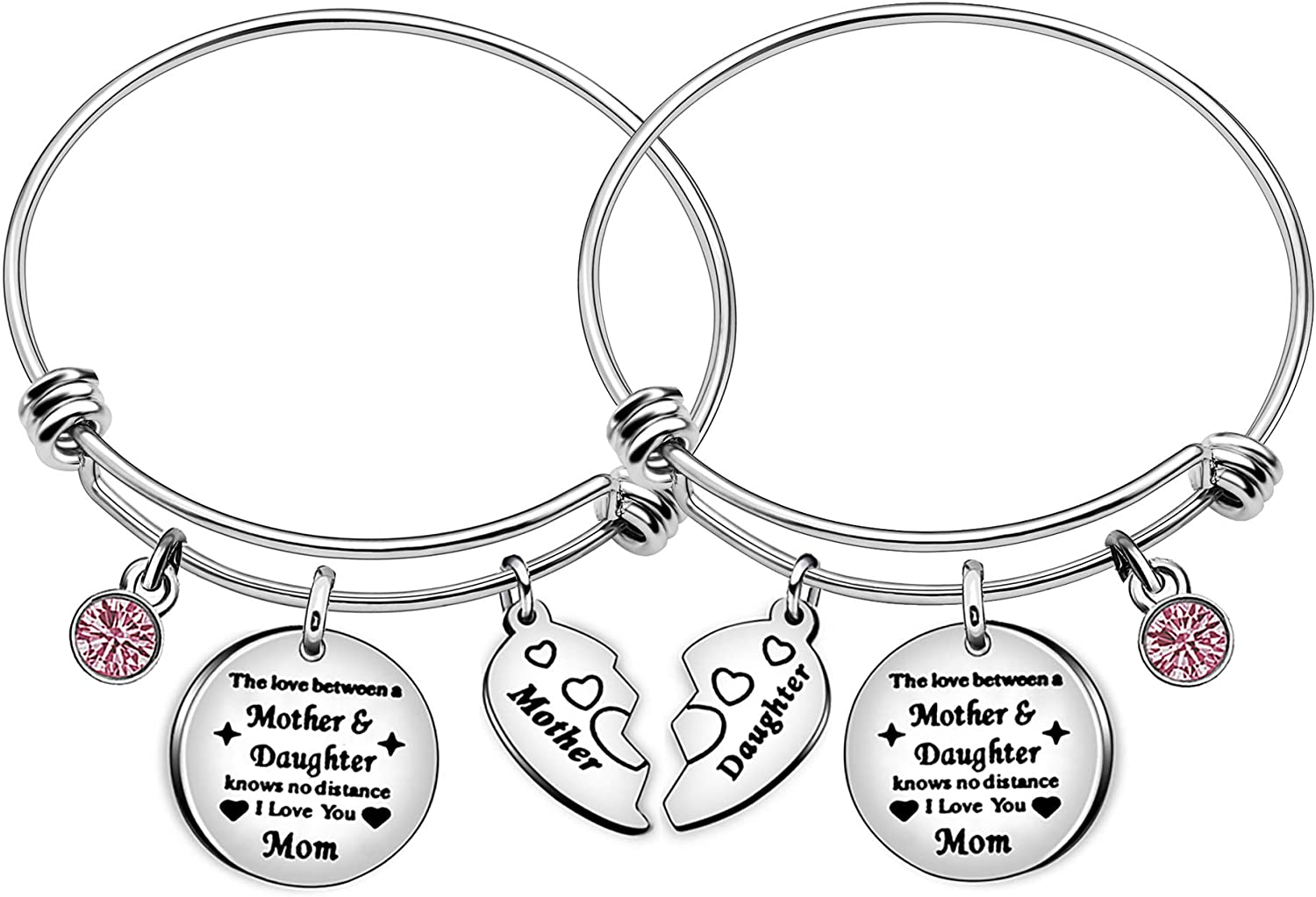 Mother Daughter Heart Charm Bangle Family Gift Adjustable Bracelet Women Girl Jewelry - The Love Between Mother and Daughter Knows No Distance I Love You Mom