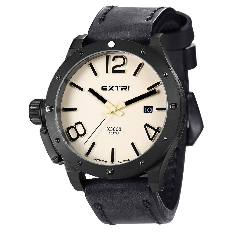 Extri Herren-Armbanduhr Analog Quarz Leder X3008A
