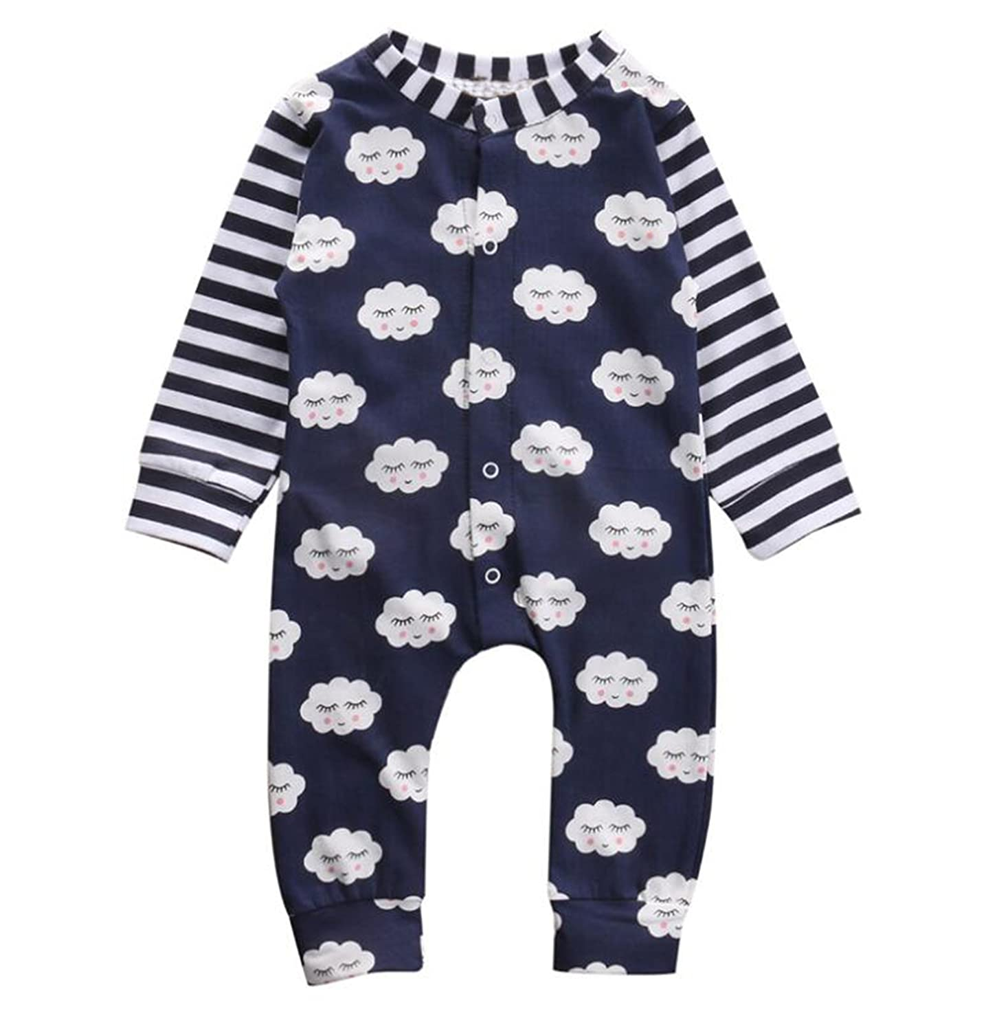 Baby Boys Girls Toddler Long Sleeve Cute Cloud Pattern Romper Jumpsuit Climb Clothes