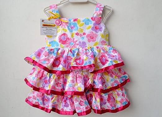 a3451410b Helloyellow Kids Clothing Cotton Baby Girl Frills and Fun Handmade Frock  (Gc202-Small -