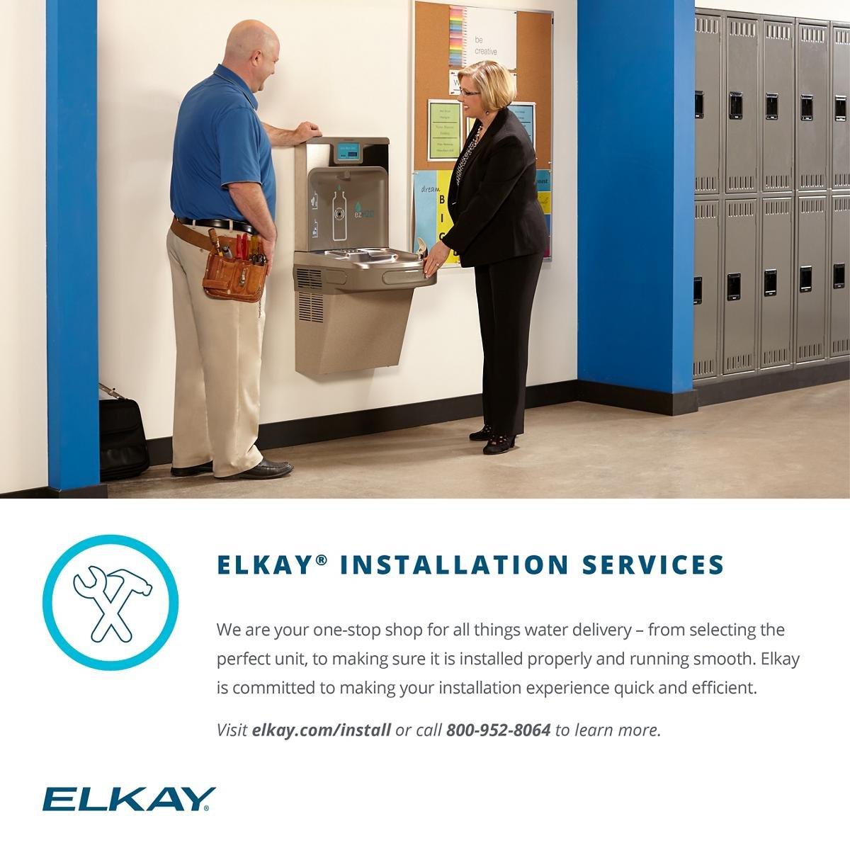 Elkay LZS8WSLP Enhanced EZH2O Bottle Filling Station & Single ADA Cooler,  Filtered 8 GPH Light Gray