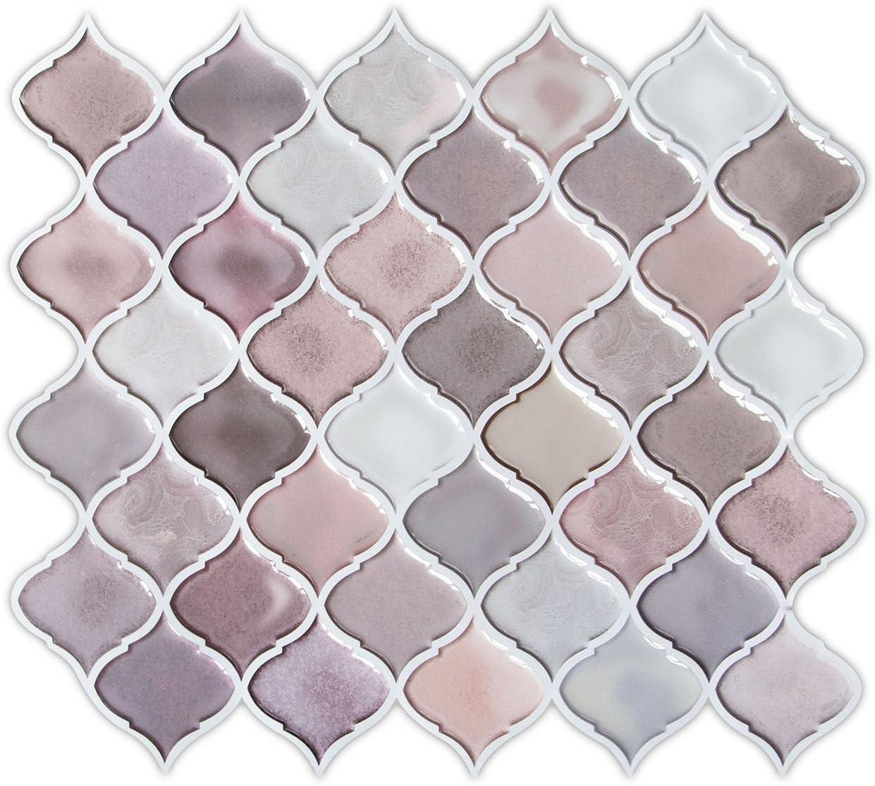 Peel And Stick Tile Hue Decoration Pink Arabesque Tile Backsplash For Kitchen Decorative Self Adhesive Backsplash Tile 10 X11 Pack Of 6 Amazon Com