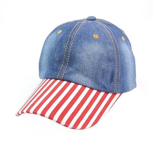 Iuhan Striped Mens Women Vintage Denim Baseball Cap Adjustable Sunscreen Hat  (Blue) d3627e59eed
