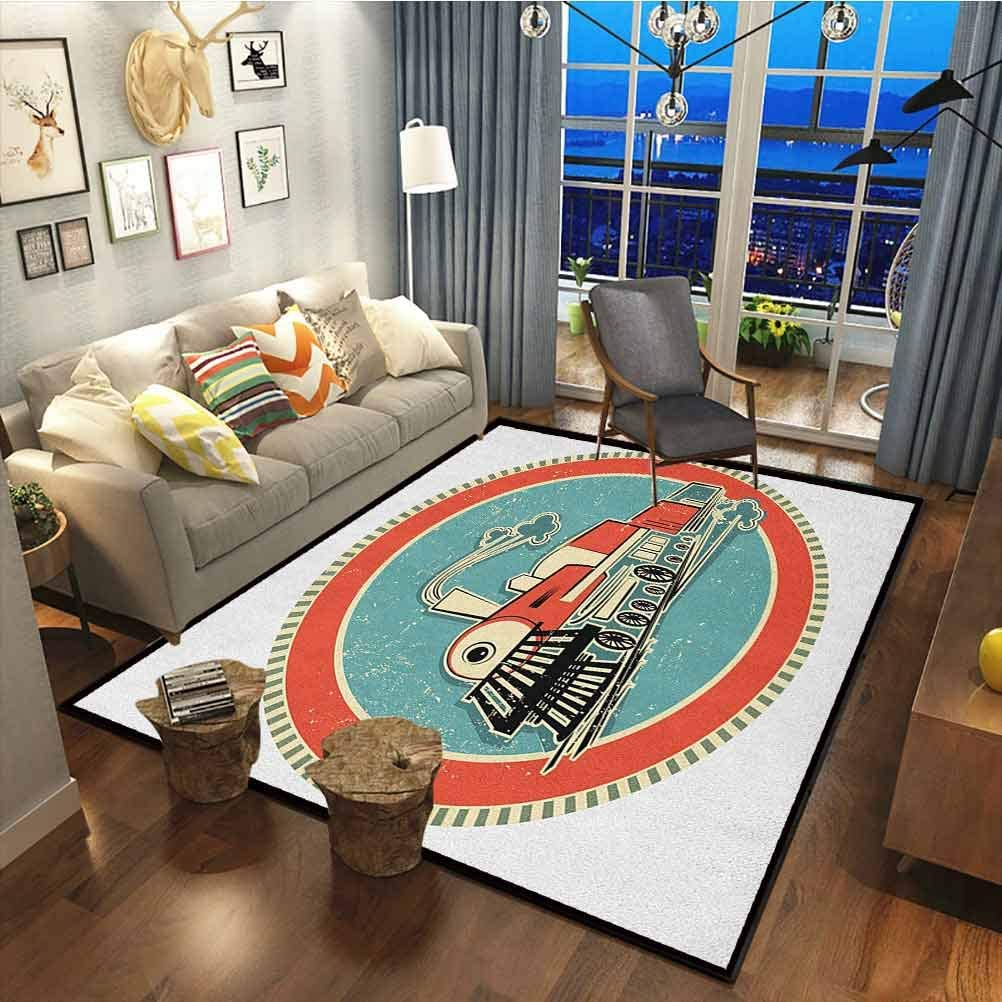 Amazon Com Steam Engine Kids Room Rug Modern Indoor Home Living Room Floor Carpet Vintage Style Orange And Blue Banner Train Transportation Retro Old Turquoise Salmon Ivory19 X 33 Inch Kitchen Dining