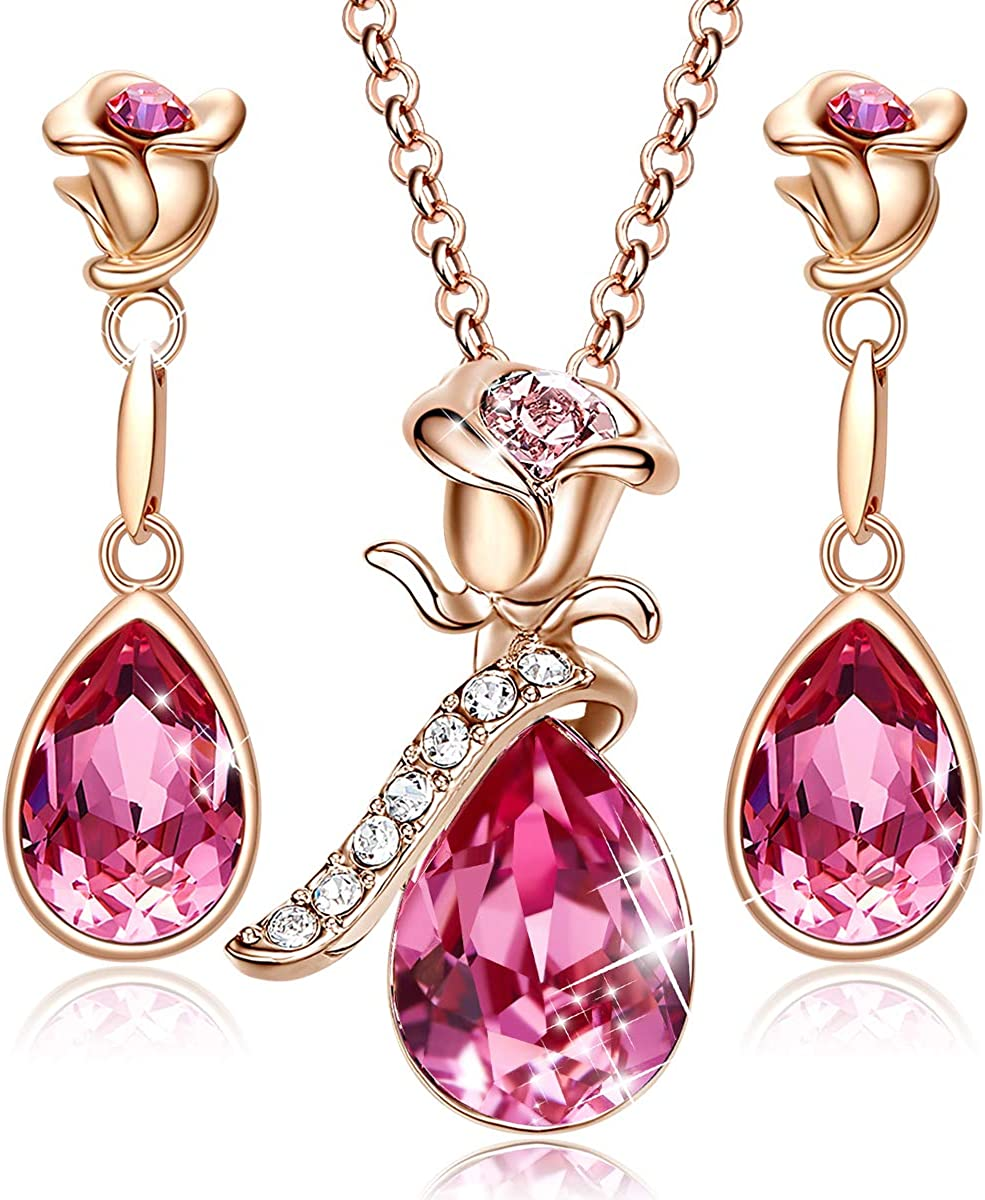 CDE Rose Flower Jewelry Sets for Women Mother's Day Jewelry Gifts 18K Rose Gold/White Gold Plated Necklace Earrings Set Embellished with Crystals from Swarovski Necklace for Mom
