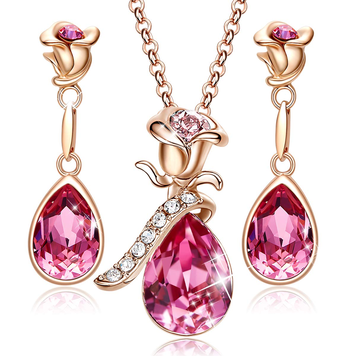 CDE Jewelry Set for Women Pink Flower Rose Gold Plated Pendant Embellished with Crystals from Swarovski Necklace and Earrings Set Gift by CDE